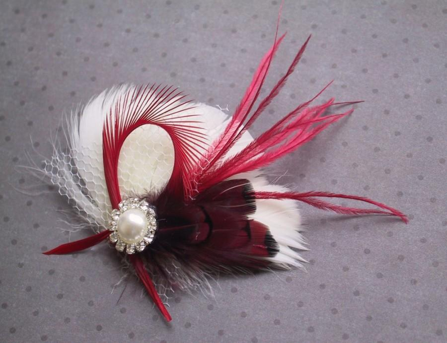 زفاف - Sale 15% off, Ivory, Bridal, Feather, Fascinator, Hair, PIece, Wedding, Accessory, red, clip, facinator, holiday, Accessories - PEPPERMINT