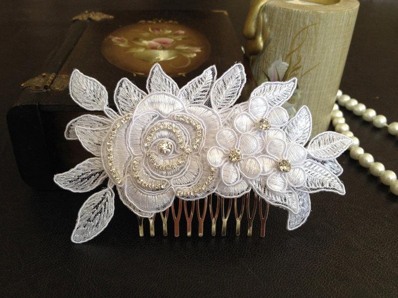 Свадьба - Bridal Hair Accessories, Wedding Head Piece, White Lace, Rhinestone, Silver, Comb
