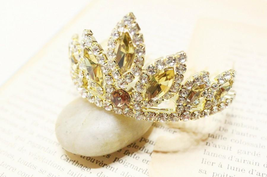 Свадьба - Rhinestone Princess Crown Gold Tiara Comb for Bridal Wedding Pagents // Gold and Amber Stone