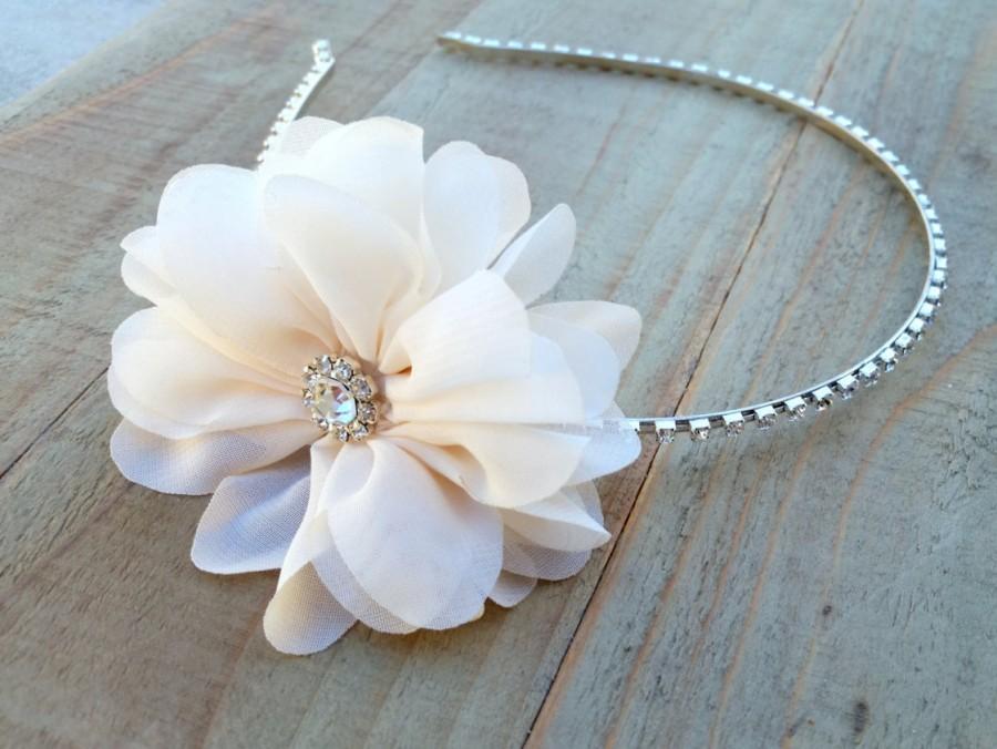 Mariage - Ivory Bridal Flower Fascinator Headband Wedding Chiffon Hair Piece Rhinestone Head Band Crystal Floral Band Flower Girl Bling