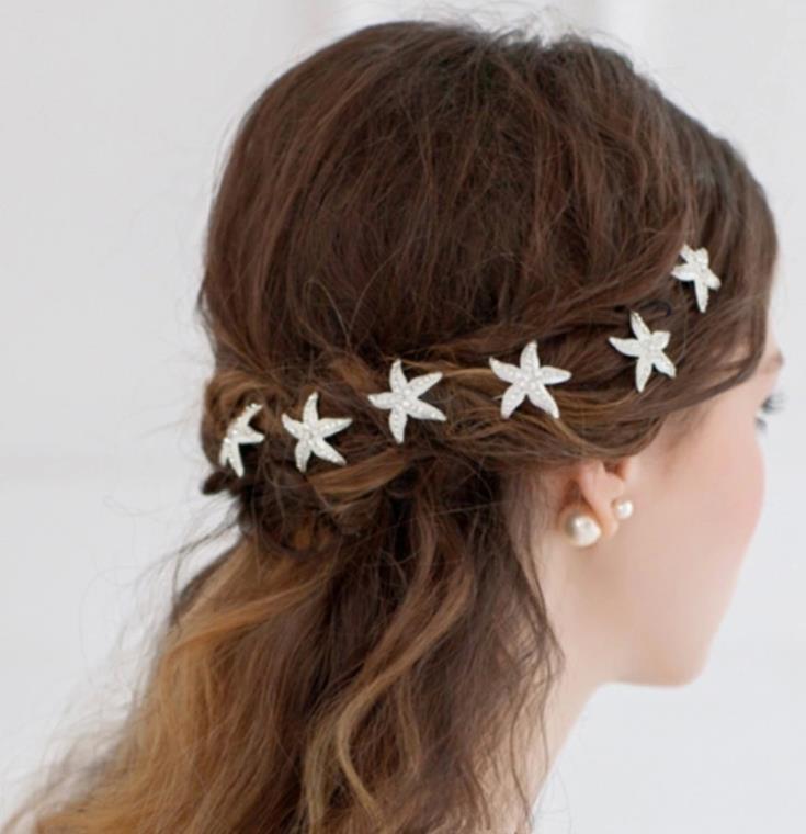 Свадьба - Rhinestone Starfish Hair Pin Bridal Beach Wedding
