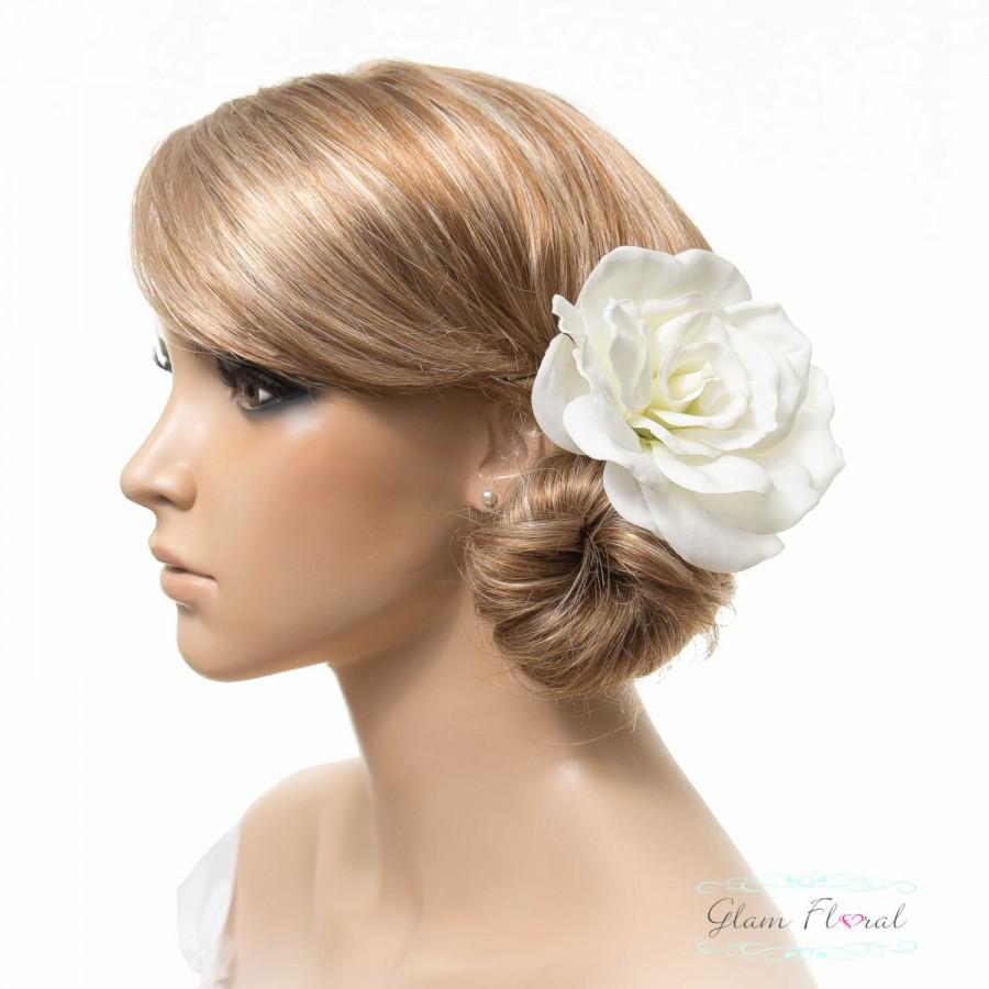 Hochzeit - Gardenia Hair Clip / Brooch / Corsage, Real Touch Gardenia Rose Fascinator in Natural Cream White