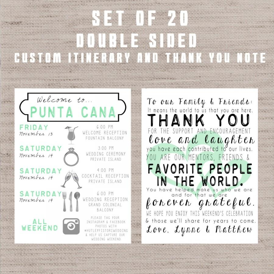 SET OF 20 Destination Wedding Welcome Bag Letters AND Guest Itinerary Timeline Of Events