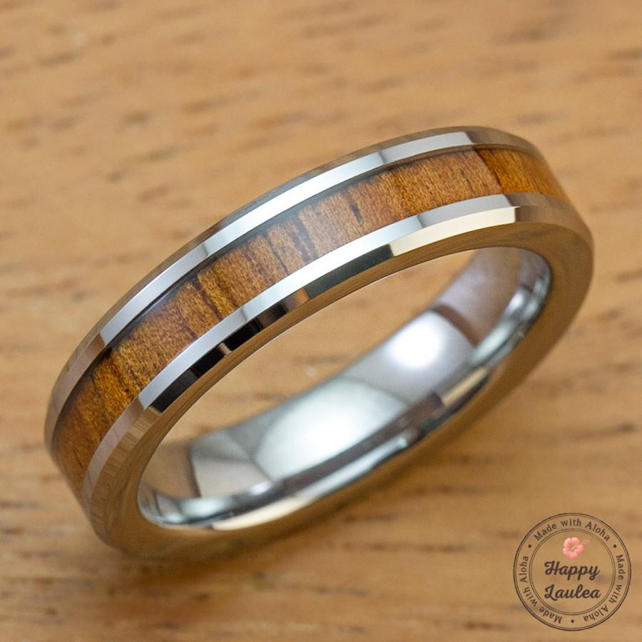 Mariage - Tungsten Carbide Ring with Koa Wood Inlay (6mm width, flat style beveled edges)
