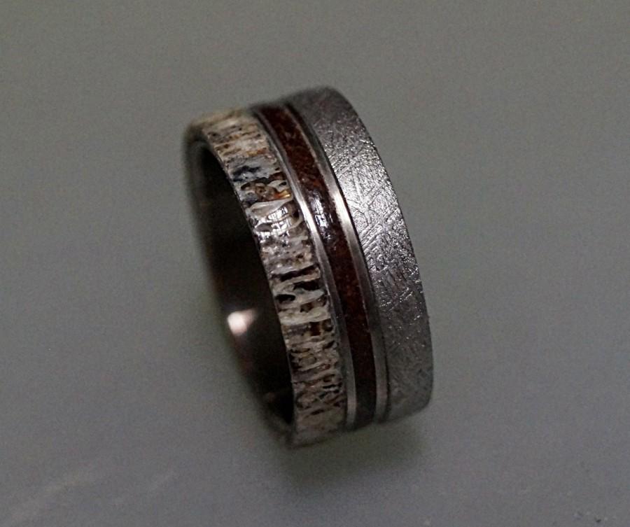 Mariage - Meteorite Ring, Titanium Ring with Gibeon Meteorite, Deer Antler and Dinosaur Fossil Inlays