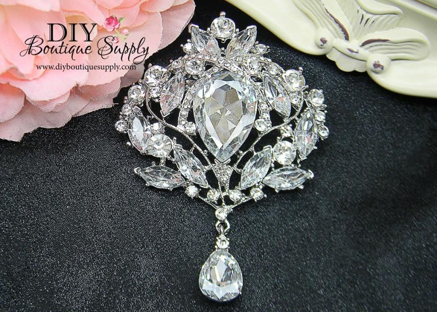 Mariage - Huge Crystal Brooch Rhinestone Brooch Embellishment Brooch Bouquet DIY Wedding Bridal Accessories Sash Pin Back 95mm 243380