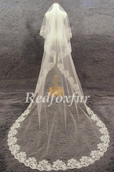 Mariage - Fashion 1T Bridal Veil Ivory Cathedral Veil Hand-beaded Alencon lace veil Lace edge veil Wedding dress veil Wedding Accessories