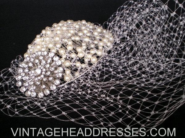Birdcage Veil With Vintage Diamante Pearl Juliet Cap Headpiece