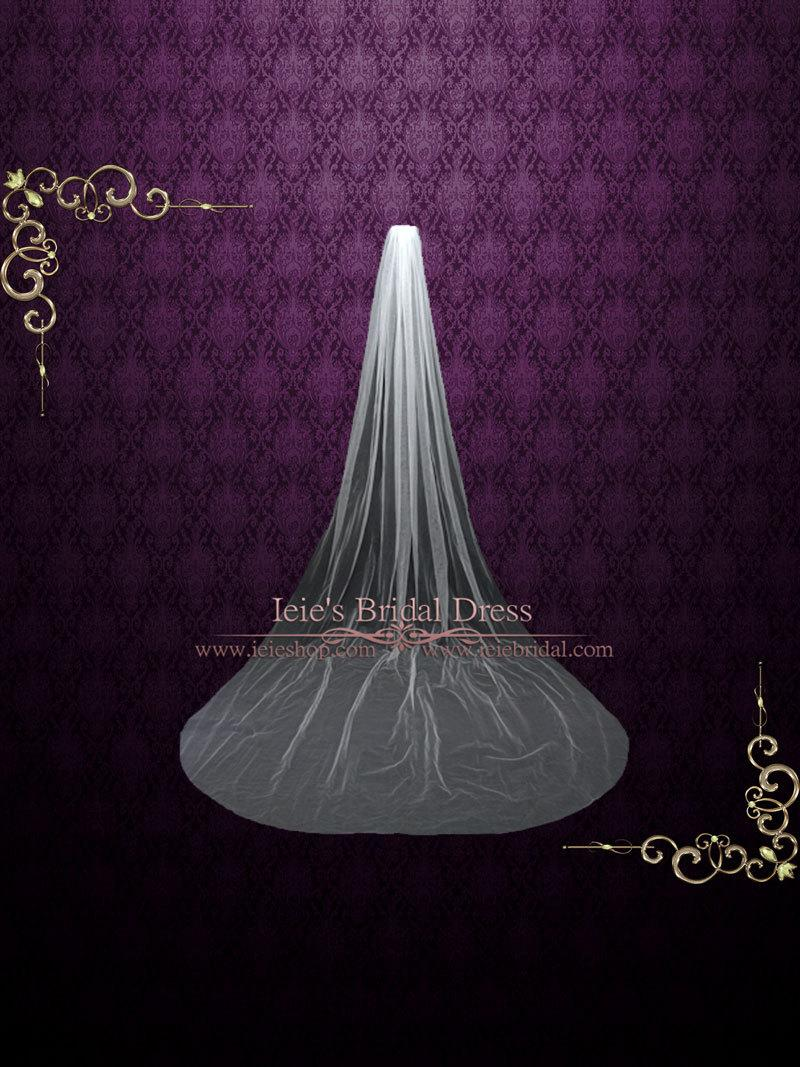 Свадьба - Plain One Tier Cathedral Length Tulle Veil With Raw Edge