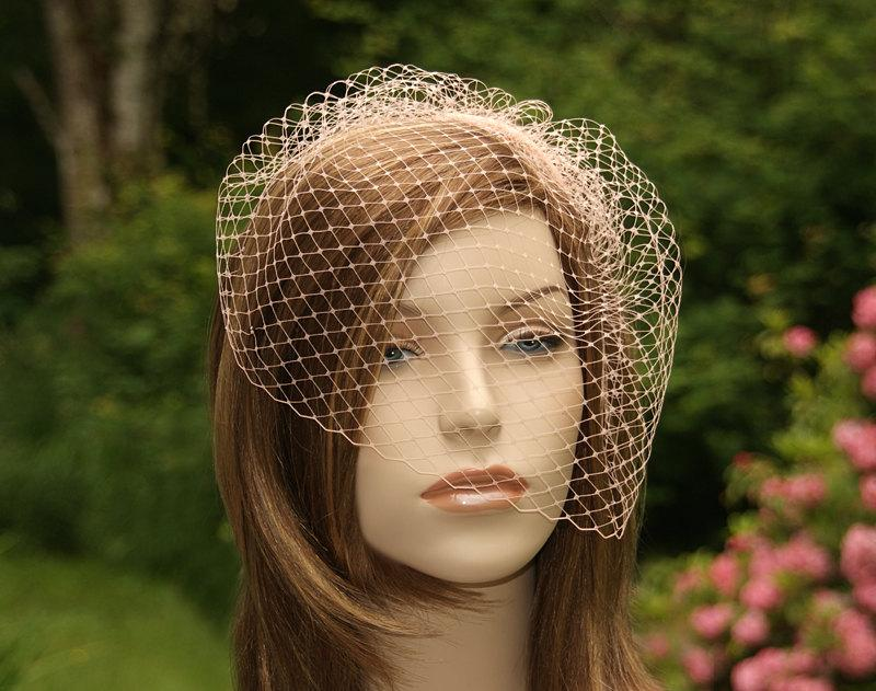 Mariage - Blush Pink Birdcage Veil, Ready to Ship, Bridal Bird Cage, Wedding Hairpiece, Netting Blusher