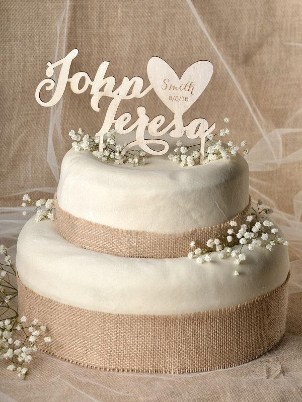 Hochzeit - Rustic Cake Topper, Wood Cake Topper, Heart Cake Topper, Engraved Cake Topper, Wedding Cake Topper,