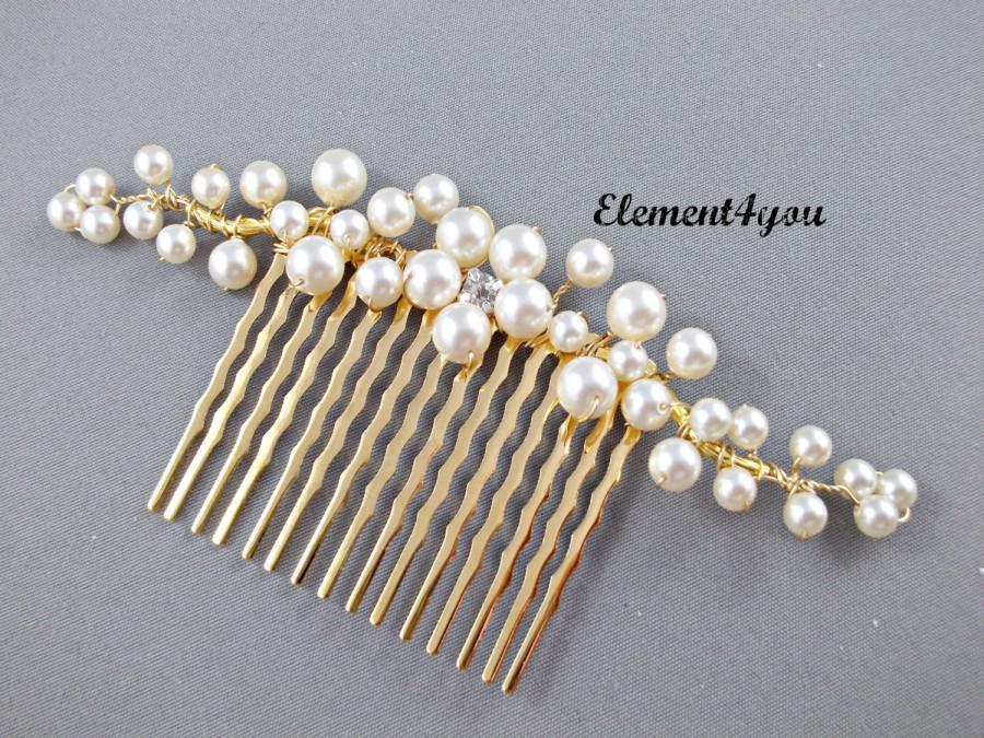 Свадьба - Bridal hair comb, gold branches, pearl flower, Swarovski ivory or white pearls, wedding hair piece, accessories, rhinestone, Bridal hairdo