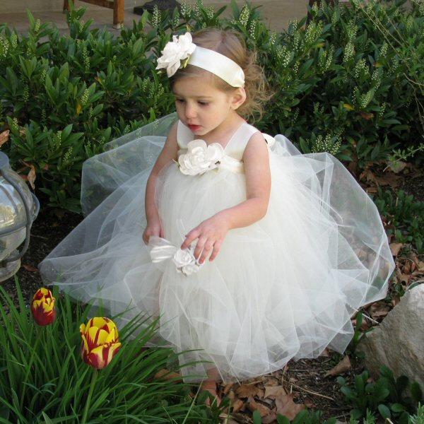 Свадьба - Flower Girl Dress Tutu - Ivory Tutu Dress - Flower Girl Tutu - Flower Girl Dress - Toddler Tulle Dress - Flower Girl Tutu Dresses