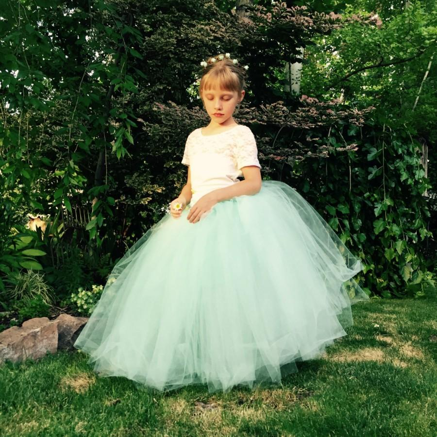 Flower Girl Dress Tutu Girls Mint Tulle Skirt Satin Ribbon Sash