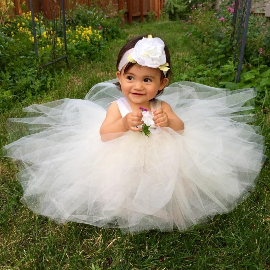 Flower Girl Dress Tutu Ivory Baby Blessing Dress Tulle ...