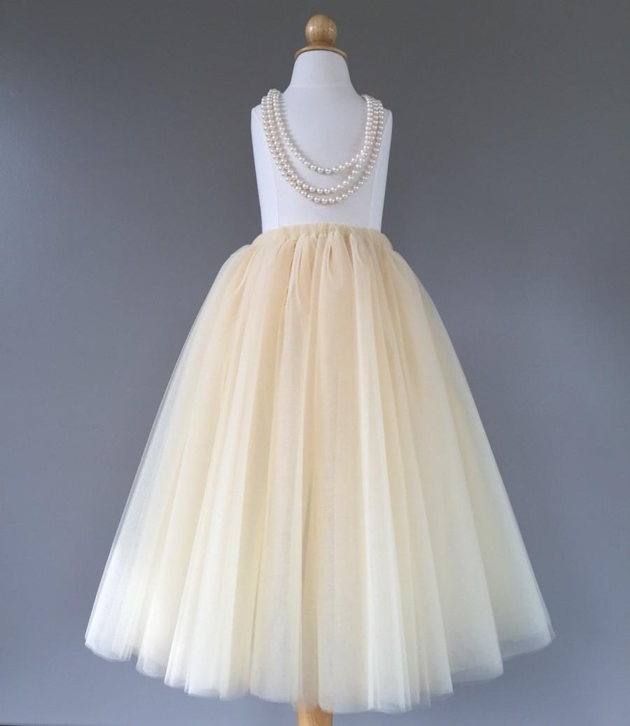 Mariage - Flower girl tutu, champagne tulle skirt, champagne tutu, long tulle skirt ANY COLOR