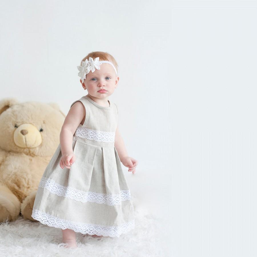 Mariage - Flower girl dress - Rustic linen girl dress with lace - Infant rustic linen flower girl dress