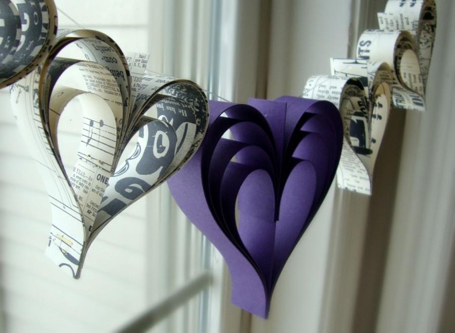 Свадьба - Heart garland banner Eggplant