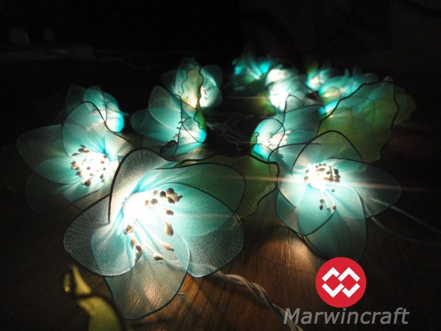 Свадьба - 20 Blue Rain Lilly Flower Fairy String Lights Hanging Wedding Gift Party Patio Wall Floor Garden Bedroom Home Accent Floral Decor 3m