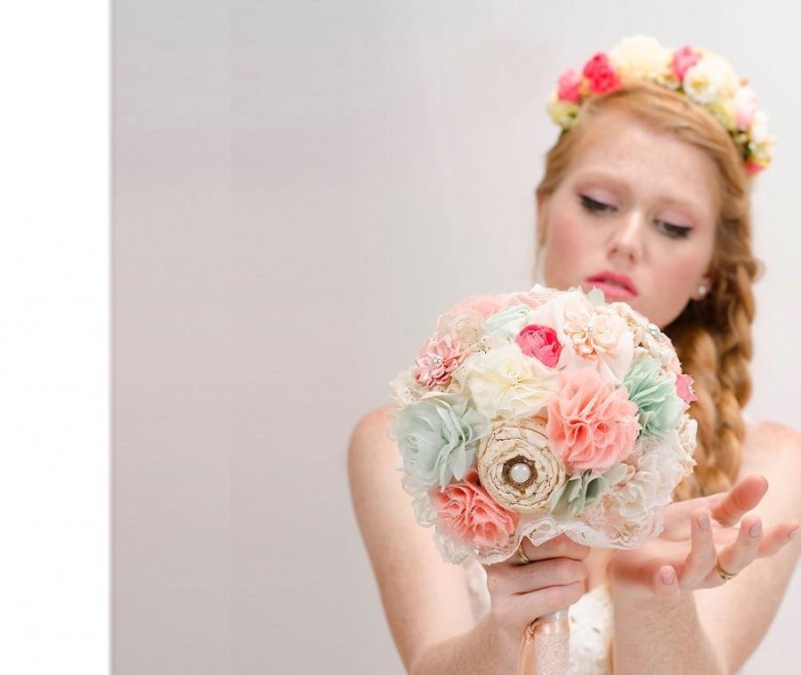 Свадьба - Bridal Bouquet, wedding bouquet, fabric flowers bouquet