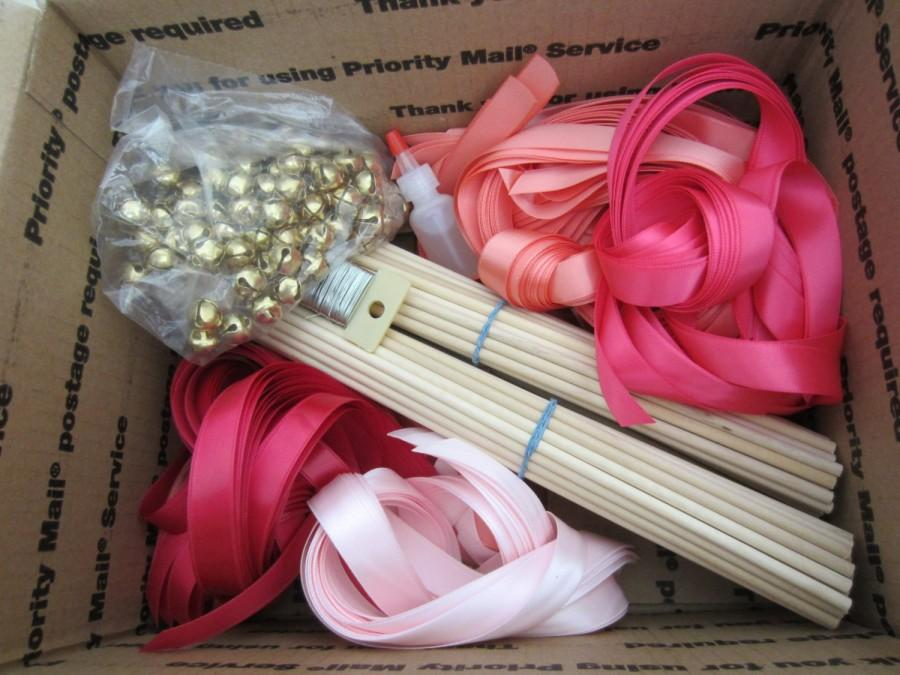 Mariage - DIY Wedding Wand, Ribbon Wands, CUSTOM COLORS 100 wands with bells and 3 ribbons you pick colors