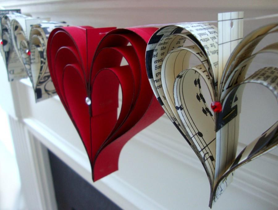 Свадьба - Valentines banner  garland of hand cut hearts