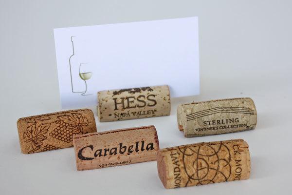 Свадьба - Used Wine Cork Place Card Holders - Variety