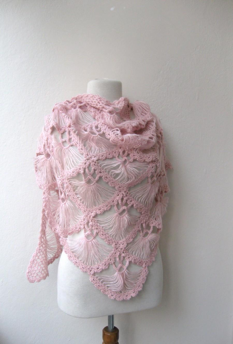 Mariage - Hand crochet triangle lace shawl wrap in PINK Holiday Valentine Wedding Bride Bridesmaid - ready to ship