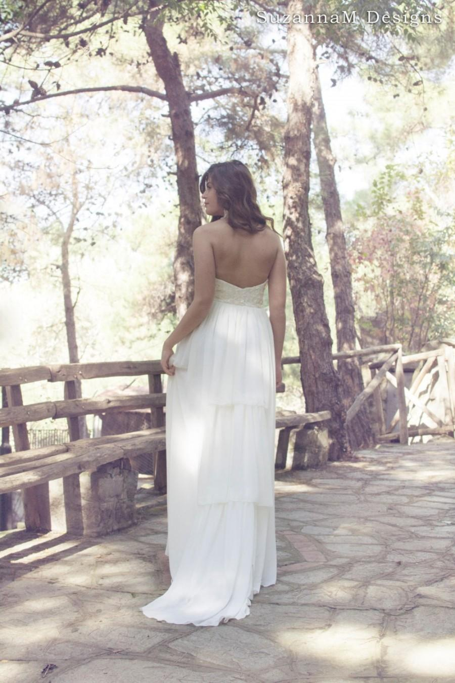 Mariage - Boho Wedding Dress Strapless Bridal Gown Long Bohemian Dress Lace Gown - Handmade by SuzannaMDesigns