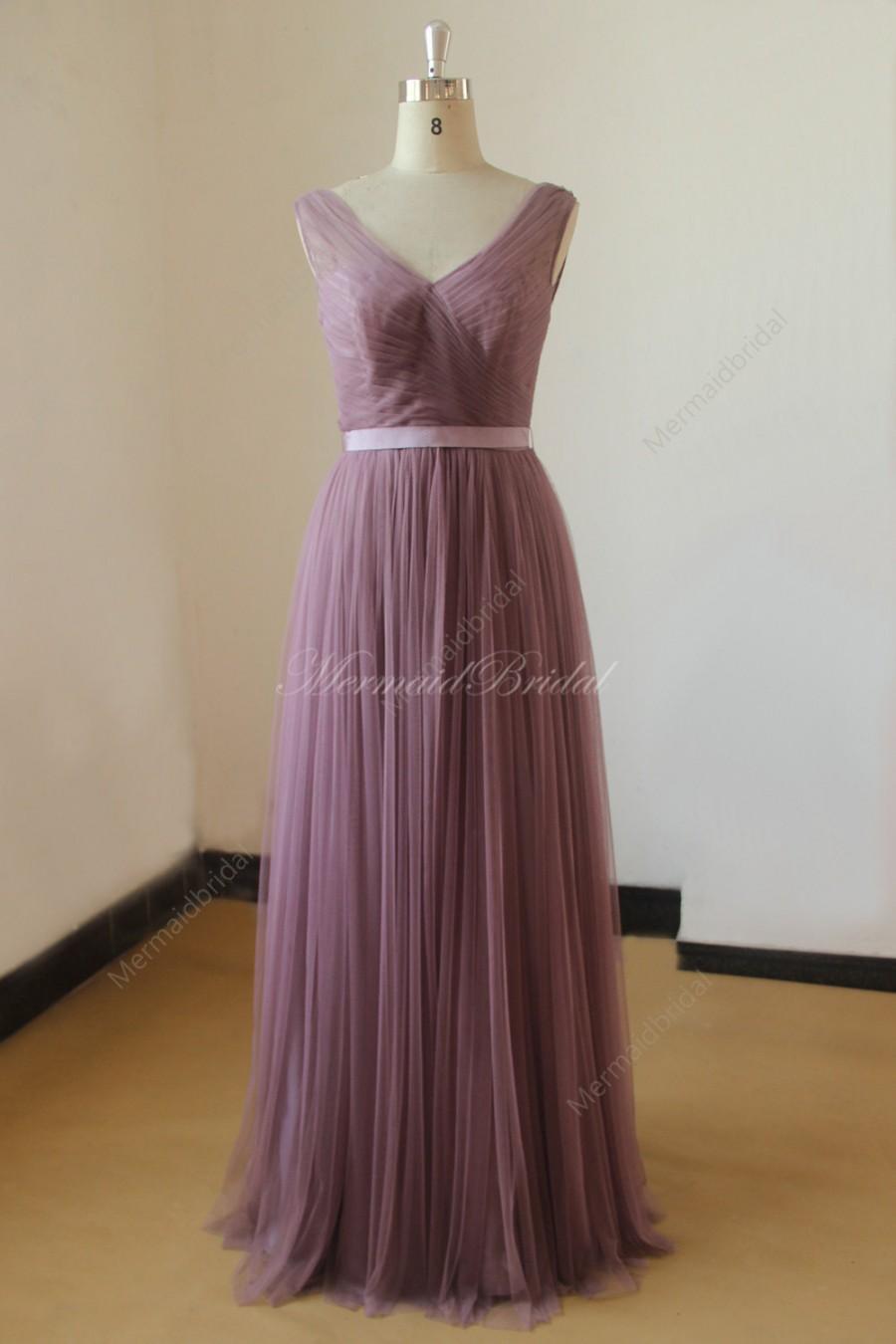 زفاف - Simple deep v neckline mauve tulle bridemaid dress, prom dress