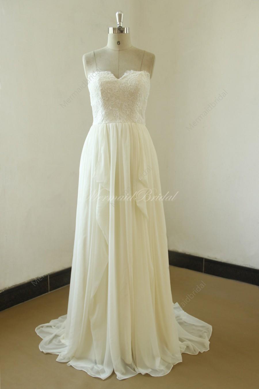 زفاف - Cream ivory A line chiffon lace wedding with sweetheart neckline