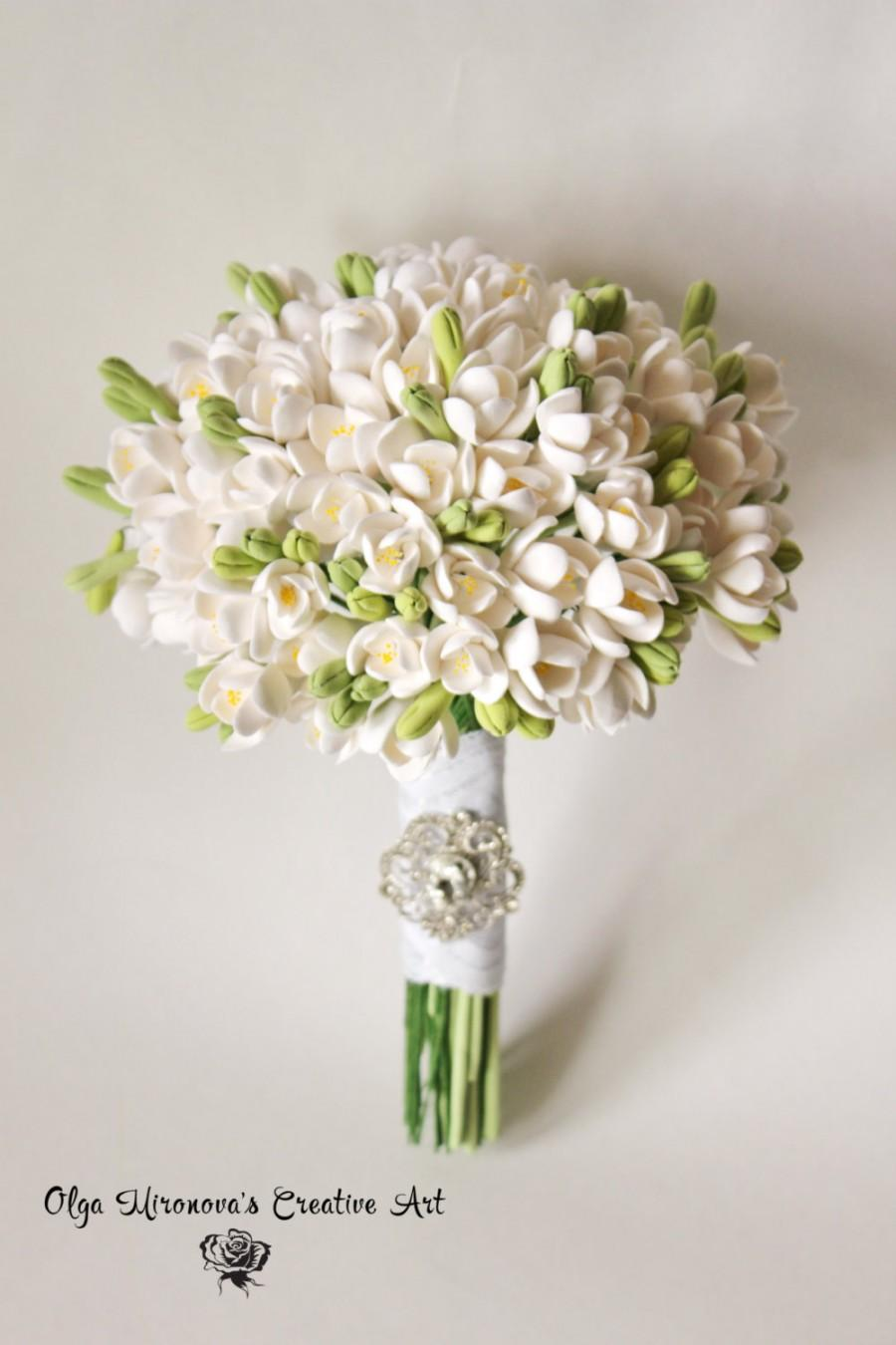 SALE White Freesias Wedding Bouquet Bridal Bouquet Eco Wedding Elven ...