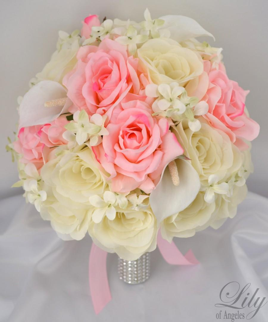 """Mariage - 17 Piece Package Wedding Bridal Bride Maid Of Honor Bridesmaid Bouquet Boutonniere Corsage Silk Flower PINK IVORY """"Lily Of Angeles"""" PIIV01"""