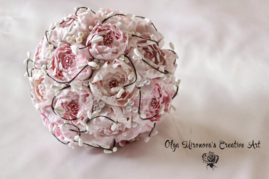 Mariage - Gorgeous pink peony brooch bouquet, wedding bouquet, bridal brooch bouquet, shabby chic wedding bouquet in pink Peony Brooch Bouquet