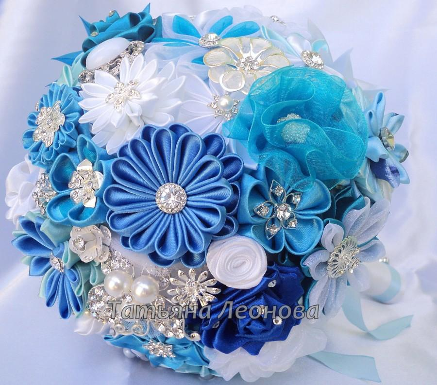 fabric wedding bouquet brooch bouquet blue lagoon blue turquoise white and royal blue. Black Bedroom Furniture Sets. Home Design Ideas