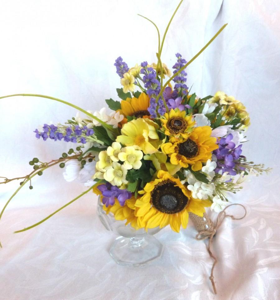 Hochzeit - Sunflower wedding Country wedding Sunflower and lilac Bouquet set twine wrap country chic bouquet