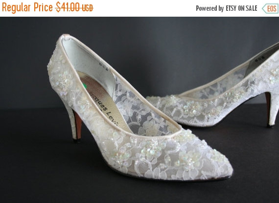 Black Friday Bridal Beaded Shoes Lace And Sequin White Ivory Pumps Jacques Levine Couture Wedding Bride Something Old Size 5