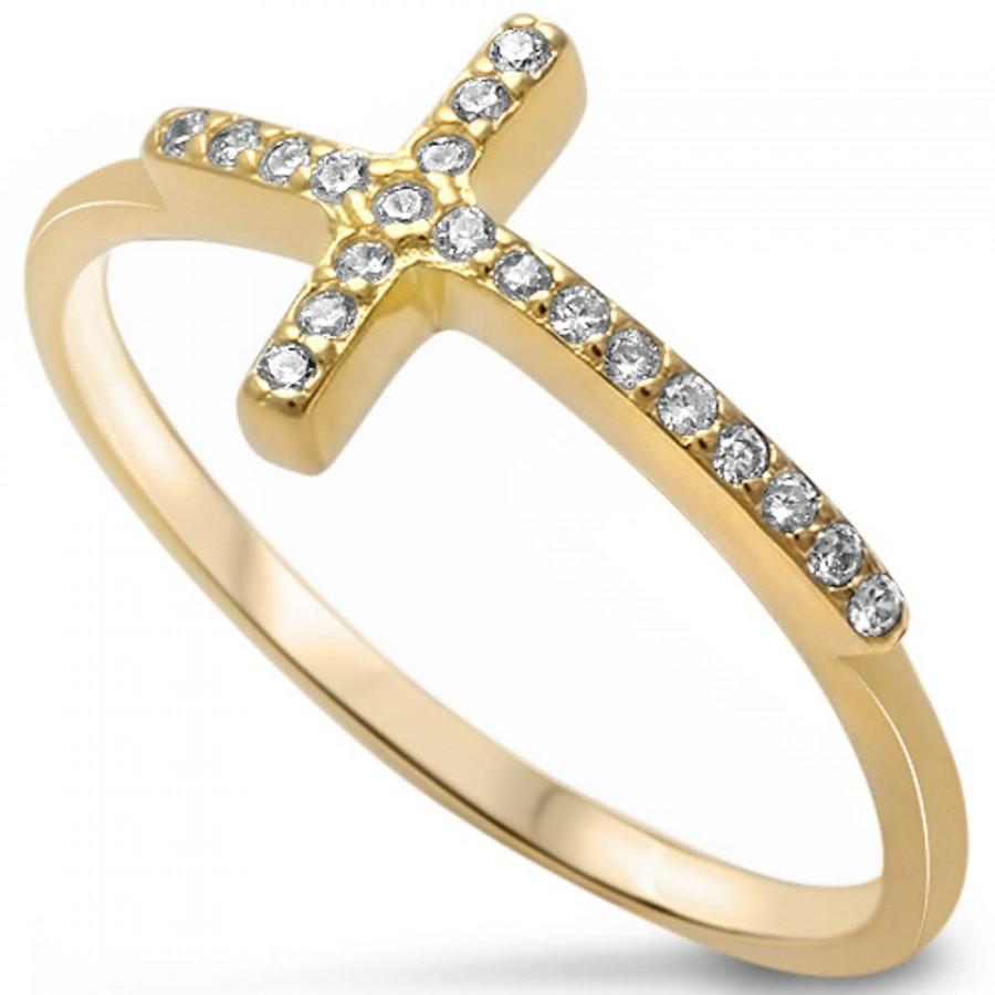 Cross With Clear CZ Stones Silver White Gold Plated Ladies Ring