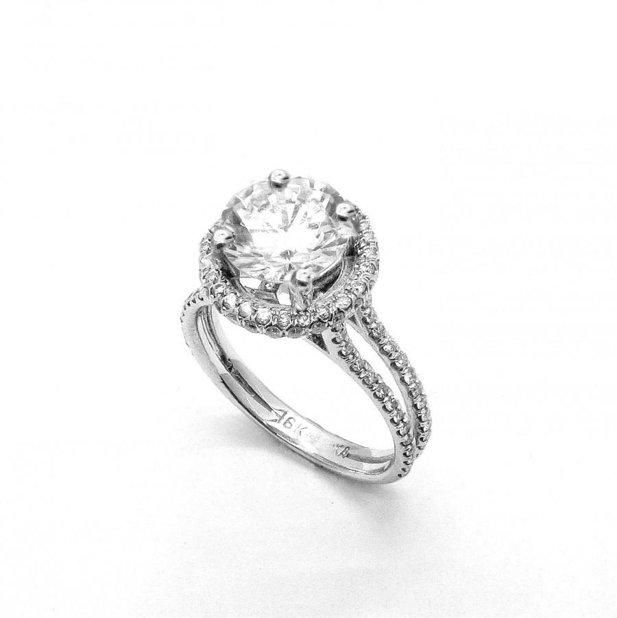 14K White Gold Floating Halo Diamond Engagement Ring Setting For 2 Carat Stone Double Shank Semi Mount