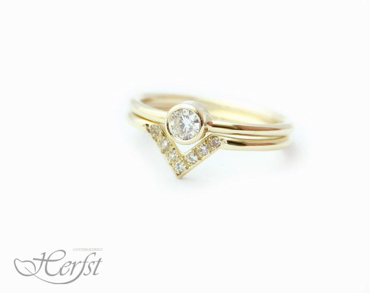 Mariage - 14k Diamond solid gold ring AND a band ring, engagement ring, wedding ring, diamond ring, Handmade