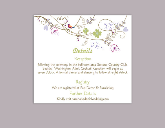 Mariage - DIY Wedding Details Card Template Editable Text Word File Download Printable Details Card Colorful Details Card Elegant Information Cards