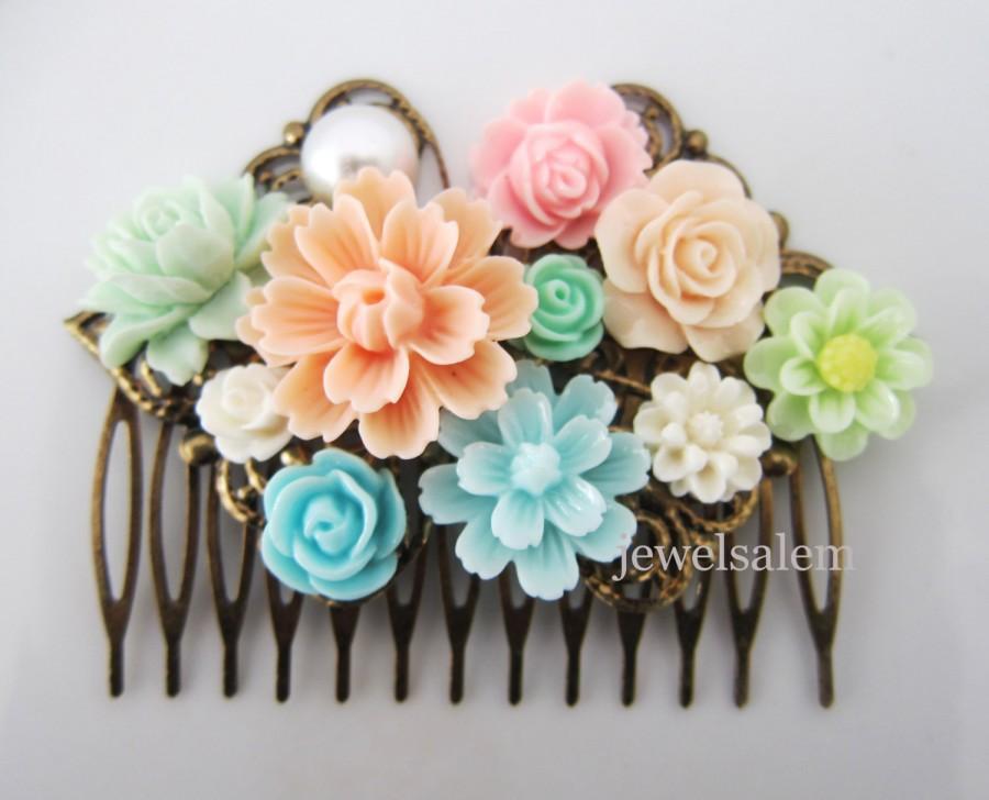 زفاف - Wedding Hair Comb Peach Pink Mint Green Turquoise Baby Blue Bridal Head Piece Bridesmaids Floral Hair Accessories Flower Pastel Colors