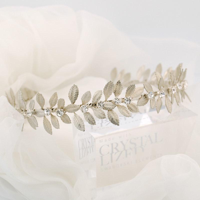 زفاف - Wedding headband - Silver leaf headband - Grecian headpiece - bridal headband - Swarovski crystal - Laurel leaf headband