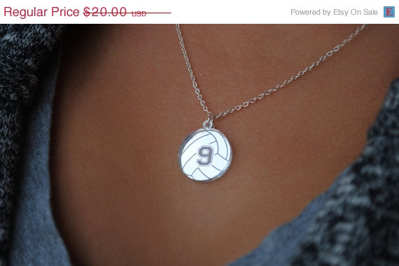 Свадьба - ON SALE Custom Volleyball Necklace with any number mirrored acrylic by Chicago Factory- (S100)