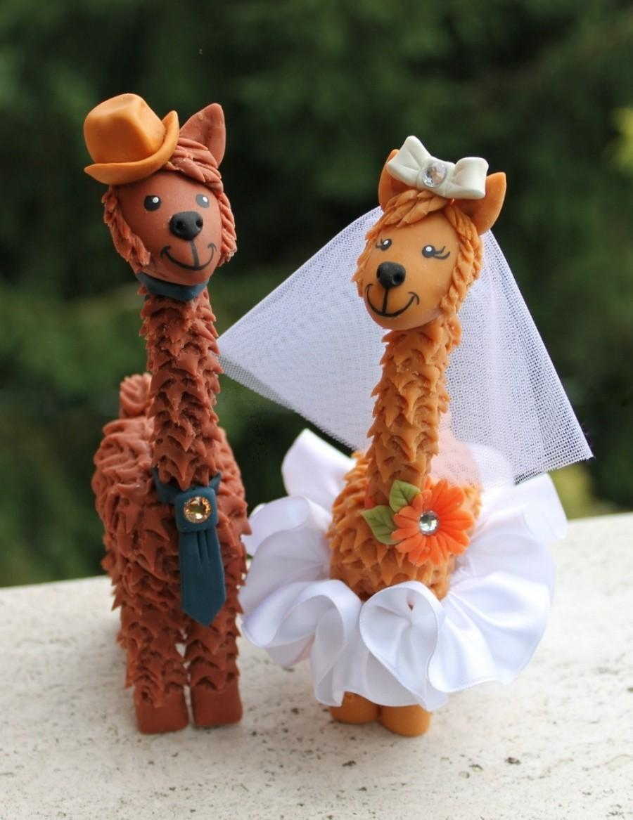 "Hochzeit - Llama wedding cake topper with personalized banner, custom bride and groom more than 6"" tall"