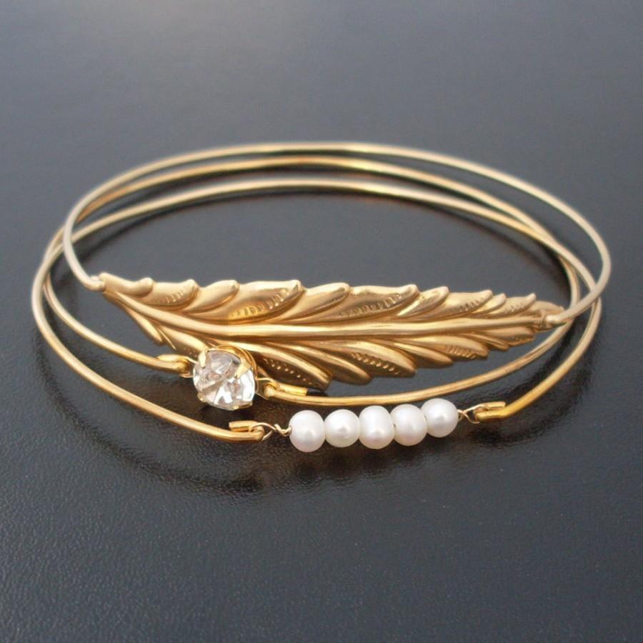 Hochzeit - Leaf, Pearl & Rhinestone Bracelet Set, Autumn Wedding Jewelry, Winter Wedding Jewelry, Fall Wedding Jewelry, Bridal, Gold Rhinestone Jewelry