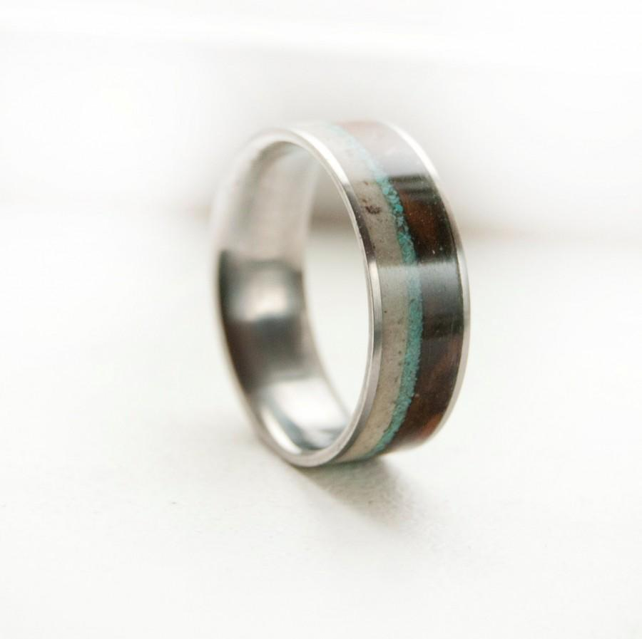 mens wedding band antler wood and turquoise ring antler wedding band Mens Wedding Band Antler Wood and Turquoise Ring