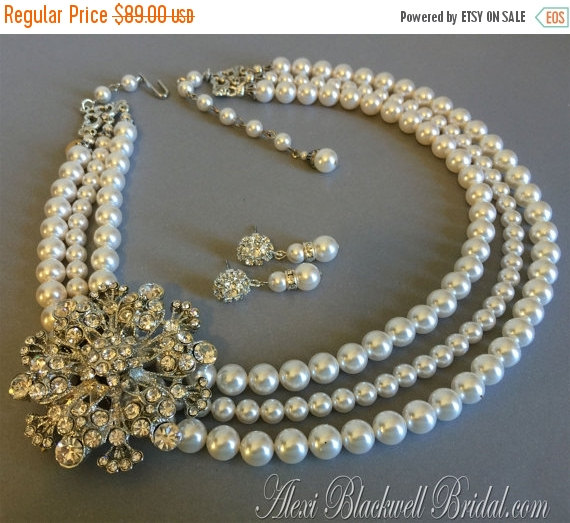 Mariage - Cyber Monday Sale Pearl Bridal Necklace Set Brooch Necklace with Rhinestone embellishment 3 strands of Swarovski pearls choice of color wedd