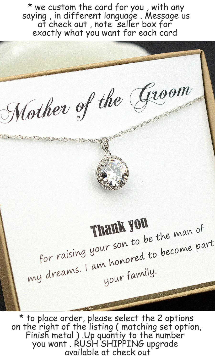 Mariage - Mother of the groom , mother of the bride gift , mother on law gift , thank you for raising the man of my dream ,necklace & box card ,cubic