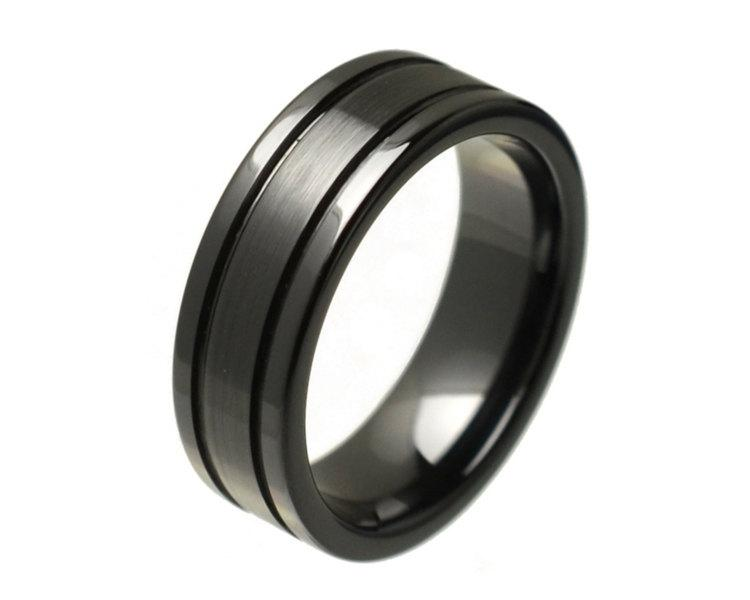 mens ring mens wedding ring promise rings for him promise ring for men black ceramic ring brushed center double grooved mens jewelry - Black Wedding Rings For Men